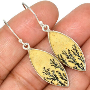 Germany Psilomelane Dendritic Rough (Cream) 925 Sterling Silver Earrings