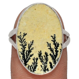 Germany Psilomelane Dendrite Rough (Cream) 925 Sterling Silver Ring -Size 7.5