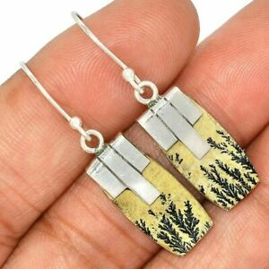Germany Psilomelane Dendrite Rough (Cream) 925 Sterling Silver Earrings