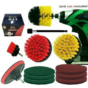 12pc Drill Brush and Pad Set All Purpose Drill Scrubber Attachments For Cleaning