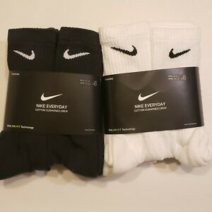 New Mens and Womens Nike Dri Fit Crew Socks 6 or 3 pairs pack Large Cushioned $19.99