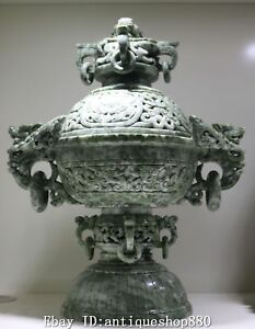 16 Rare Natural Dushan Jade Dragon Loong Incense Burner Incensory Censer Statue