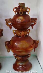 18 China Natural Onyx Agate Wealth Dragon Flower Incense Burner Censer Statue