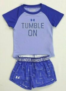 Girls Toddler Under Armour Heat Gear Shirt and Shorts Outfit Set Size 2T $27.99