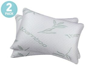 2 Pack Bamboo Shredded Memory-Foam Hypoallergenic Pain Relief Comfort Pillows
