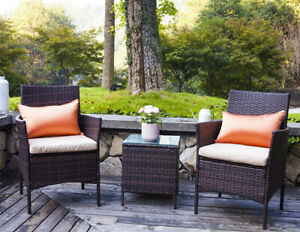 UFI 3 PCS Outdoor Patio Furniture Set Rattan Wicker Chairs & Table Brown