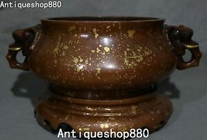 18 Marked Purple Bronze Gilt Elephant Handle Jug Incense Burner Censer Statue