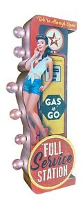 Antique Full Service Station & Pin-Up Girl Double Sided LED Sign, Man Cave Decor