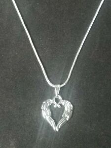 Heart Wing Necklace Pendant on Sterling Silver Chain Angel Wing 2 Sided Love 3D