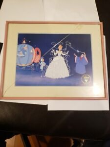 Cinderella Commemorative Lithograph Disney Store 1995 Framed $19.95