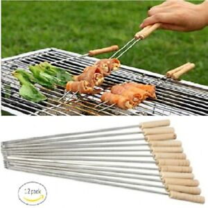 12PCS BBQ Kebab Skewers Wooden Handle Stainless Steel Skewer Reusable Sticks