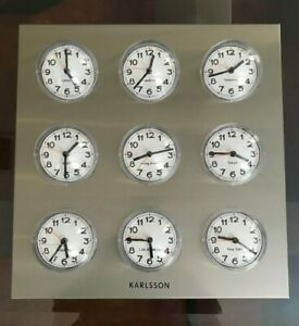 VINTAGE ORIGINAL KARLSSON WORLD TIME CLOCK 9 BUBBLES ON STAINLESS STEEL PANEL
