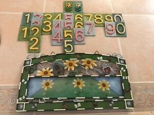 Address Sign ~ Fun Hand Painted Outdoor Tin/Metal  ~ Wooden Colored Numbers