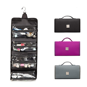 Hanging Toiletry Bag With Durable Hook Roll-Up Make Up Organizer And Travel Bag