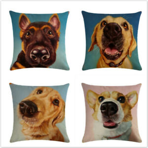 Painting Dogs Animals Series Flax Pillow Case Holder Cushion Cover Decor LP