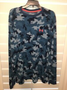Under Armour Mens Thermal Cold Gear Long Sleeve Shirt Blue Camo 2XL $20.99