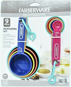 Farberware Professional Measuring Set 9 pieces Bright Colors 4 Cups amp; 5 Spoons