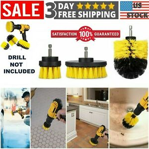 3Pcs Drill Brush Power Scrubber Set Drill Attachments Carpet Tile Grout Cleaning