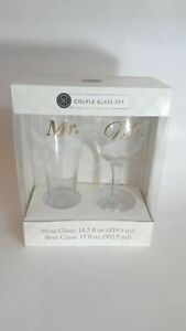 Modern Expressions Couple Glass Set Mr. and Mrs. Beer and wine glass set