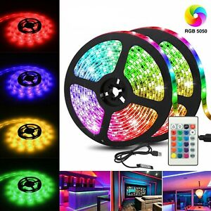 LED Light Strip 2M/6.5FT USB RGB Multi Color TV Backlight With 24 Key Remote