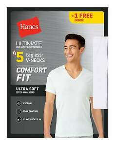 Mens T Shirt 5 Pack V Neck Hanes Ultimate Comfort Fit White Undershirt Bonus $22.37
