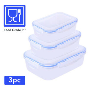 HYTX 3 PCS Plastic Food Storage Containers Set with Air Tight Snap Lock Lids