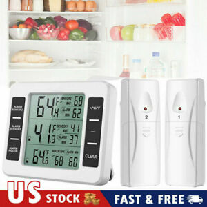 Digital Wireless Refrigerator Freezer Thermometer Alarm High Low Temperature USA