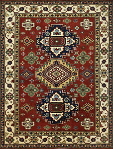 Geometric Indo Kazak Rug, 9'x12', Red/Ivory, Hand-Knotted Wool Pile