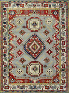 Tribal Indo Kazak Rug, 9'x12', Light Blue/Ivory, Hand-Knotted Wool Pile