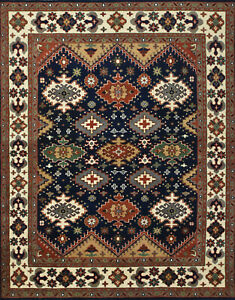 Tribal Indo Kazak Rug, 8'x10', Blue/Ivory, Hand-Knotted Wool Pile