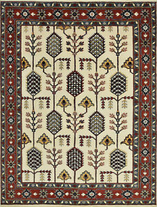 Tribal Indo Kazak Rug, 8'x11', Ivory/Red, Hand-Knotted Wool Pile