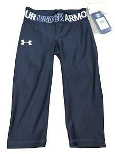 NWT Girls Youth Under Armour Heatgear Capri Black Small YXL 1305644 $30 $14.00