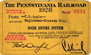 1928 PENNSYLVANIA SYSTEM RAILROAD PASS OVER ENTIRE SYSTEM $16.00