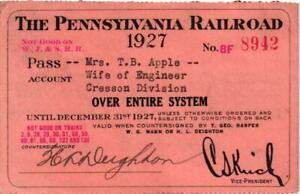 1927 PENNSYLVANIA SYSTEM RAILROAD PASS OVER ENTIRE SYSTEM $22.00