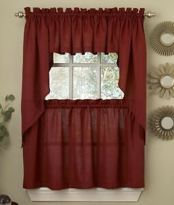 Ribcord Solid Wine Burgundy color Kitchen Curtain Brand New $11.99