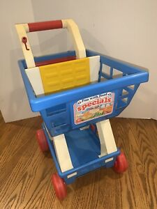 PICK UP 1989 Fisher Price 2106 Fun with Food Vintage Grocery Shopping Cart-Super
