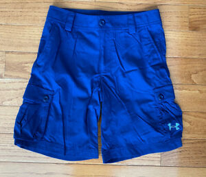 Under Armour Boys Golf Cargo Shorts Blue Loose Fit Size Youth Medium $19.99