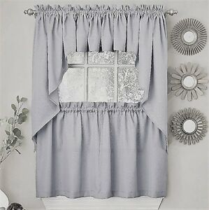 Ribcord Solid Gray color Kitchen Curtain Brand NEW $13.99