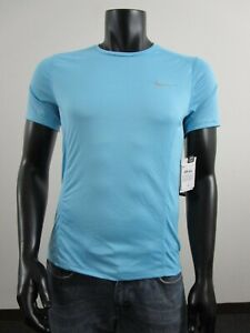 NWT Mens Small Nike Dry Fit Miler Running Active Shirt UPF 40 Blue 872021 432 $22.48