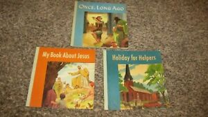 3 Vintage 1949 Christian Children#x27;s BooksOnce Long AgoBook About JesusHoliday