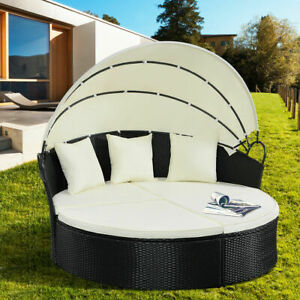 Outdoor Sofa Set Patio Rattan Furniture Round Retractable Wicker Daybed w Canopy $599.49