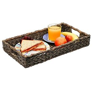 Large Rectangular Wicker and Rattan Serving Tray – 19.5x11x3in
