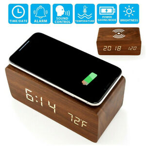 Modern Wooden Wood Digital LED Alarm Clock Thermometer Qi Wireless Charger Home