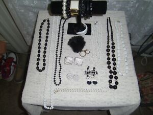 Lot of Mixed Vintage To Modern Jewelry Shades Of Black & White