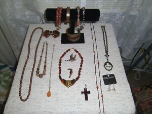 Lot Of Mixed Jewelry Vintage To Modern Shades Of Autumn
