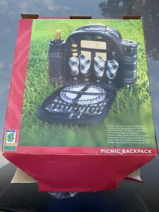 Picnic Backpack for 4 Deluxe Family Bag Outdoor Basket with Insulated Cooler NEW