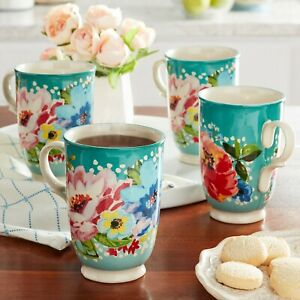The Pioneer Woman Melody Cup, Teal, Set of 4 *FREE SHIPPING*