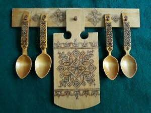 Vintage Russian Wood Burning Cutting Board Set of 6 Spoons Holder USSR