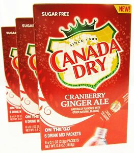 Canada Dry Cranberry Ginger Ale 6 Packets Sugar Free Drink Mix Lot of 3