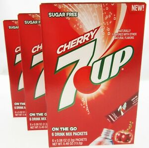 7up Cherry ~ 6 Packets ~ Sugar Free ~ Drink Mix ~ Lot of 3